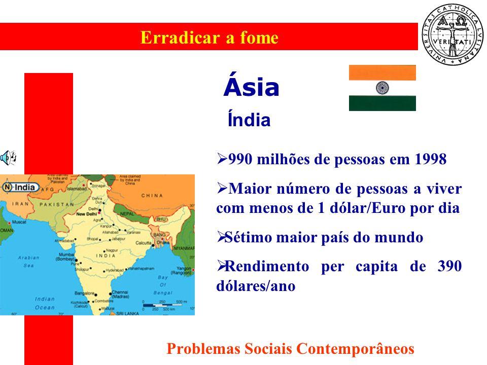Erradicar a fome Problemas Sociais Contemporâneos Ásia Índia 990 milhões de pessoas em 1998 Maior número de pessoas a viver com menos de 1 dólar/Euro