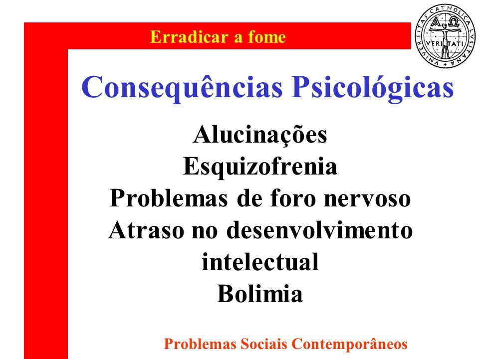 Erradicar a fome Problemas Sociais Contemporâneos Consequências Psicológicas Alucinações Esquizofrenia Problemas de foro nervoso Atraso no desenvolvim