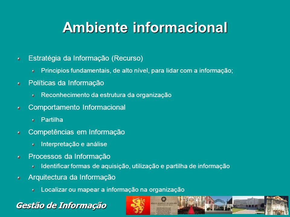Gestão de Informação Ambiente informacional Estratégia da Informação (Recurso) Principios fundamentais, de alto nível, para lidar com a informação; Po