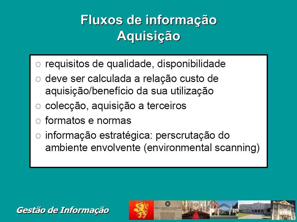 Gestão de Informação Fluxos de informação Aquisição