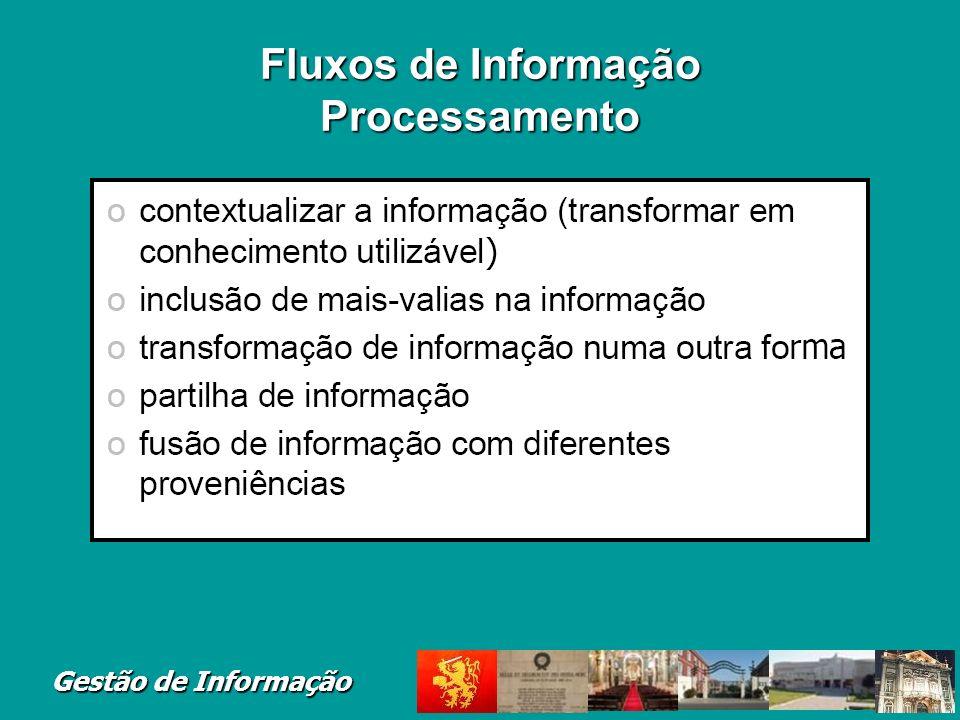 Gestão de Informação Fluxos de Informação Processamento