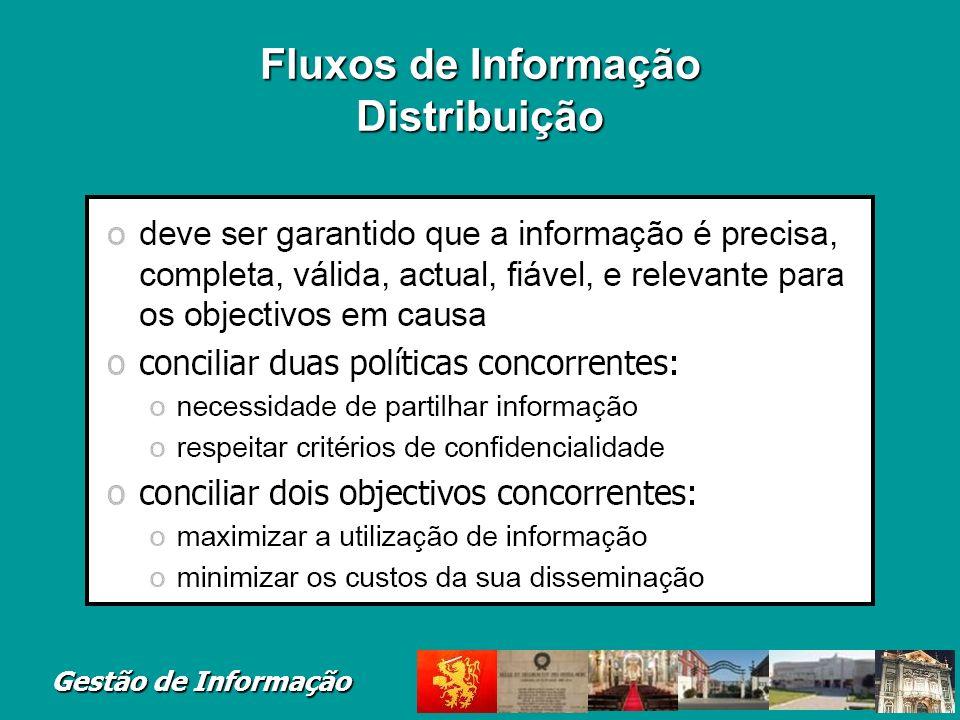 Gestão de Informação Fluxos de Informação Distribuição