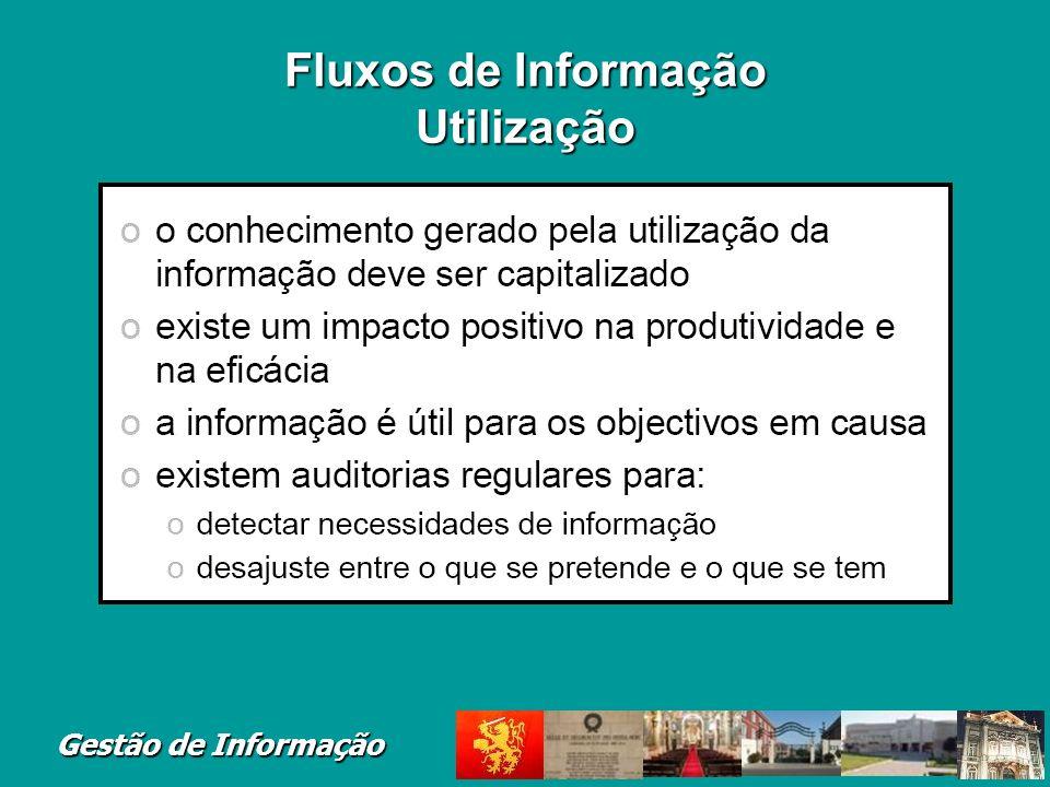 Gestão de Informação Fluxos de Informação Utilização