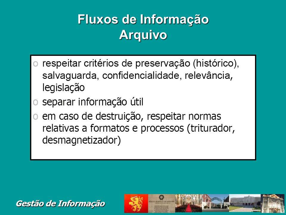 Gestão de Informação Fluxos de Informação Arquivo