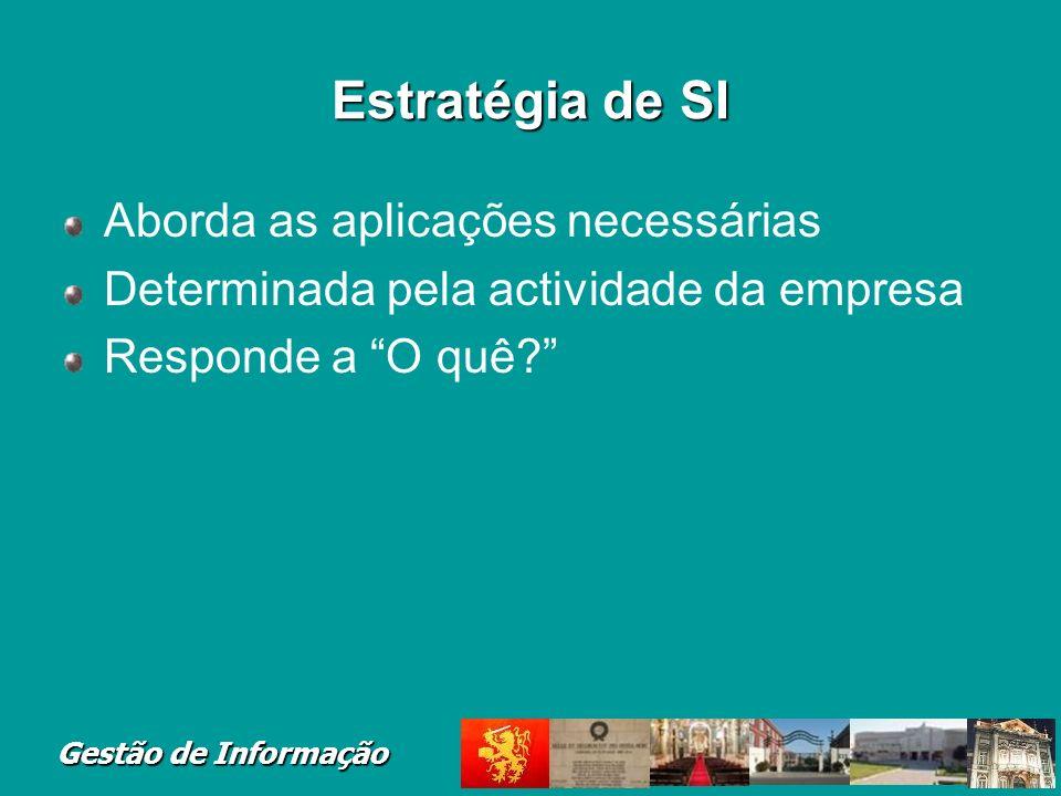Gestão de Informação Estratégia de SI Aborda as aplicações necessárias Determinada pela actividade da empresa Responde a O quê?