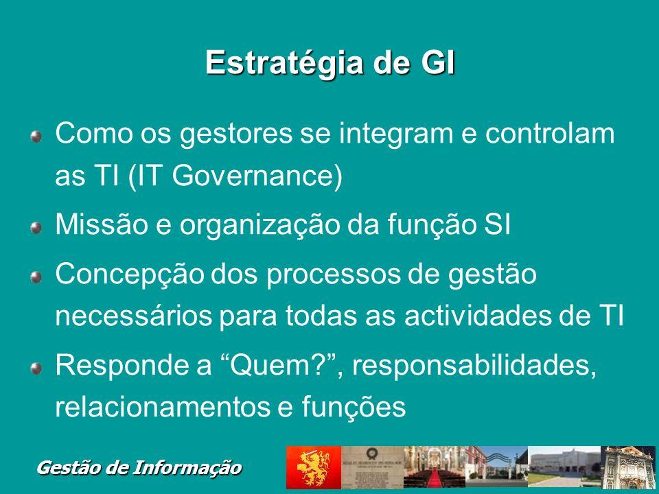 Gestão de Informação Estratégia de GI Como os gestores se integram e controlam as TI (IT Governance) Missão e organização da função SI Concepção dos p