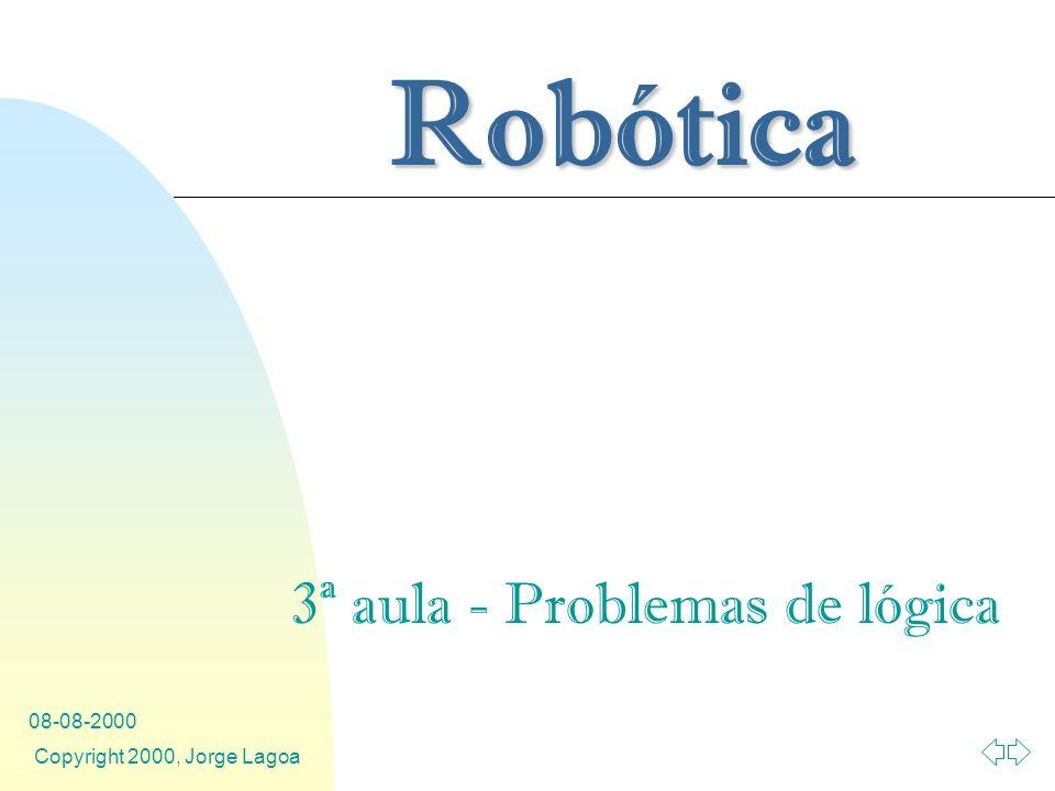 Robótica 08-08-2000 Copyright 2000, Jorge Lagoa 3ª aula - Problemas de lógica