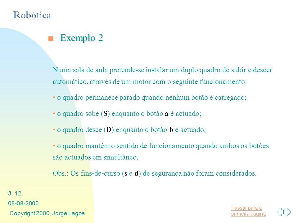 Passar para a primeira página Robótica 08-08-2000 Copyright 2000, Jorge Lagoa 3. 12. Exemplo 2Exemplo 2 Numa sala de aula pretende-se instalar um dupl