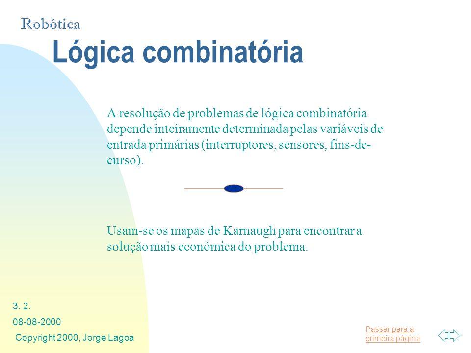 Passar para a primeira página Robótica 08-08-2000 Copyright 2000, Jorge Lagoa 3. 2. Lógica combinatória A resolução de problemas de lógica combinatóri