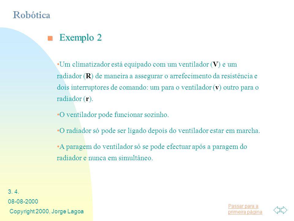 Passar para a primeira página Robótica 08-08-2000 Copyright 2000, Jorge Lagoa 3. 4. Exemplo 2Exemplo 2 Um climatizador está equipado com um ventilador