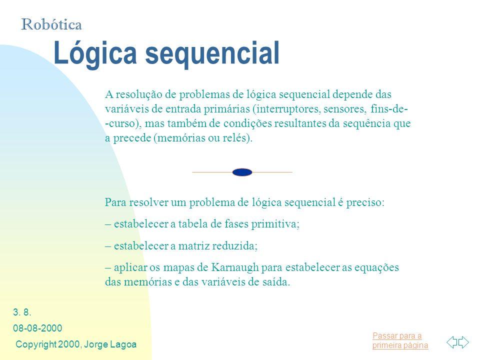 Passar para a primeira página Robótica 08-08-2000 Copyright 2000, Jorge Lagoa 3. 8. Lógica sequencial A resolução de problemas de lógica sequencial de