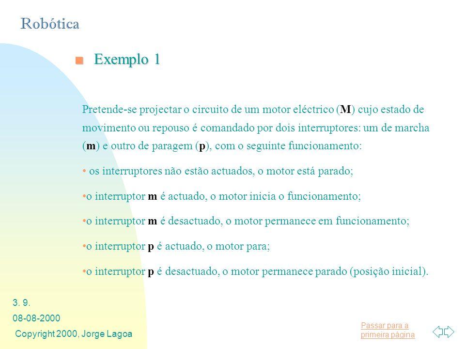 Passar para a primeira página Robótica 08-08-2000 Copyright 2000, Jorge Lagoa 3. 9. Exemplo 1Exemplo 1 Pretende-se projectar o circuito de um motor el