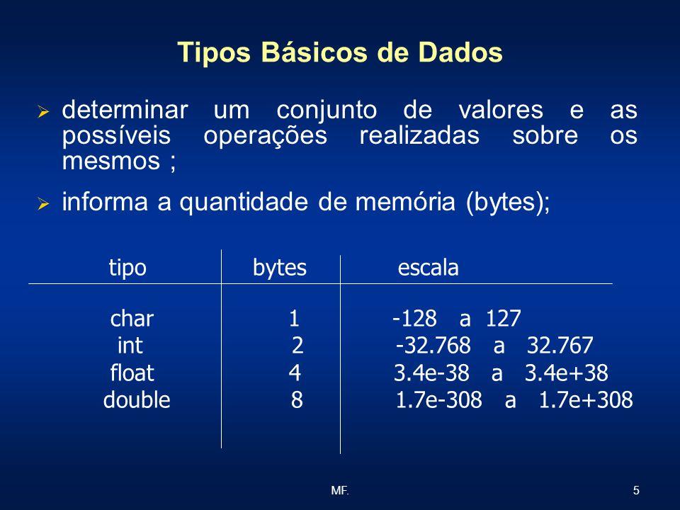 5MF. Tipos Básicos de Dados determinar um conjunto de valores e as possíveis operações realizadas sobre os mesmos ; informa a quantidade de memória (b
