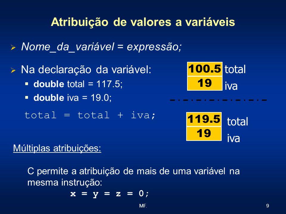 9MF. Atribuição de valores a variáveis Nome_da_variável = expressão; Na declaração da variável: double total = 117.5; double iva = 19.0; total iva 19