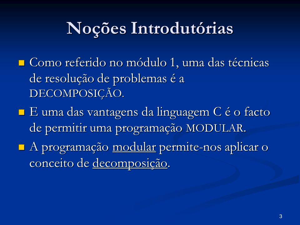 4 Noções Introdutórias Desde o primeiro programa em C que utilizamos funções: Desde o primeiro programa em C que utilizamos funções: main() main() printf(….) printf(….) scanf(….) scanf(….) system(…) system(…) abs(….) abs(….) ….