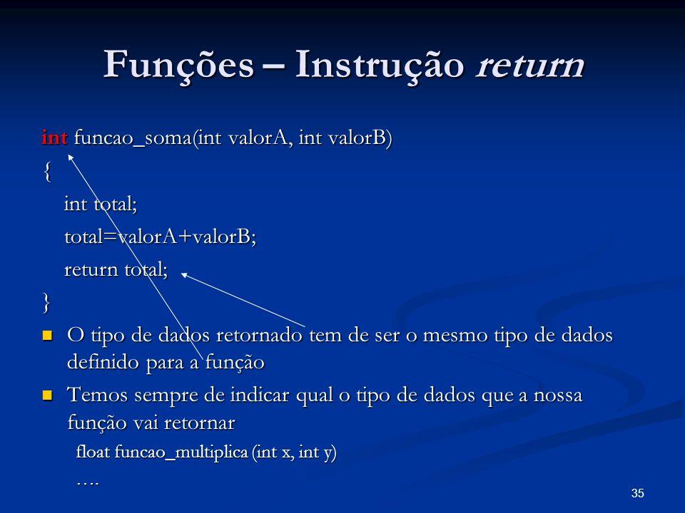 35 Funções – Instrução return int funcao_soma(int valorA, int valorB) { int total; int total; total=valorA+valorB; total=valorA+valorB; return total;