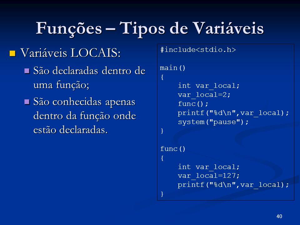 40 Funções – Tipos de Variáveis Variáveis LOCAIS: Variáveis LOCAIS: São declaradas dentro de uma função; São declaradas dentro de uma função; São conh