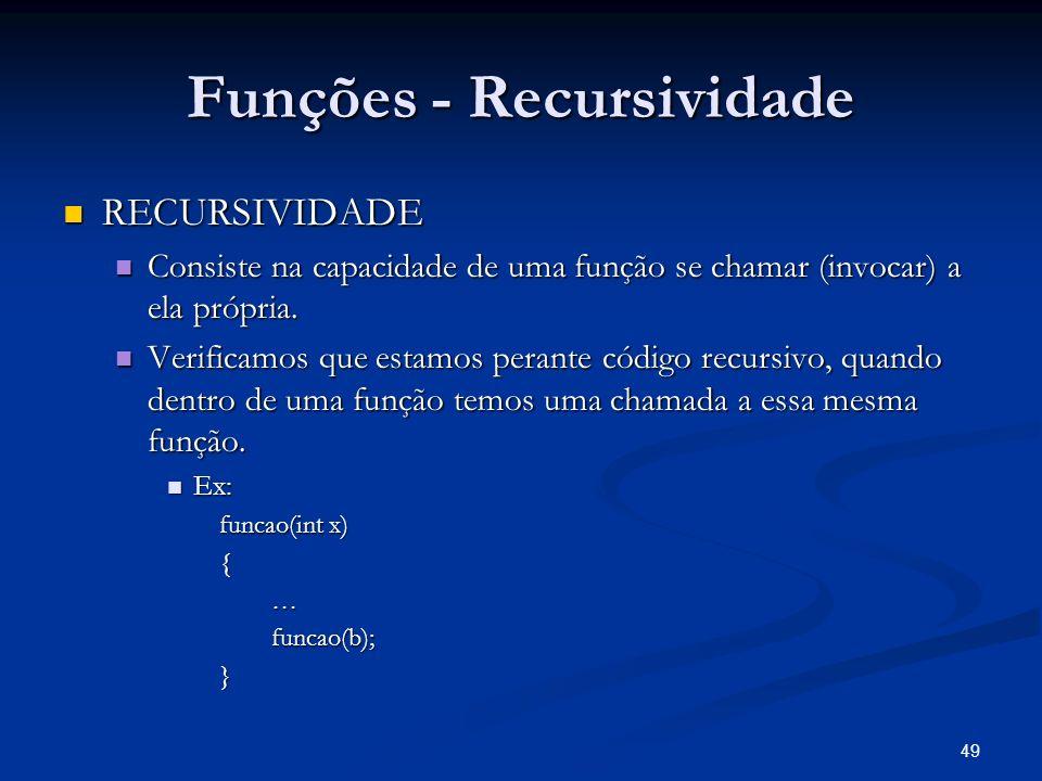 49 Funções - Recursividade RECURSIVIDADE RECURSIVIDADE Consiste na capacidade de uma função se chamar (invocar) a ela própria. Consiste na capacidade