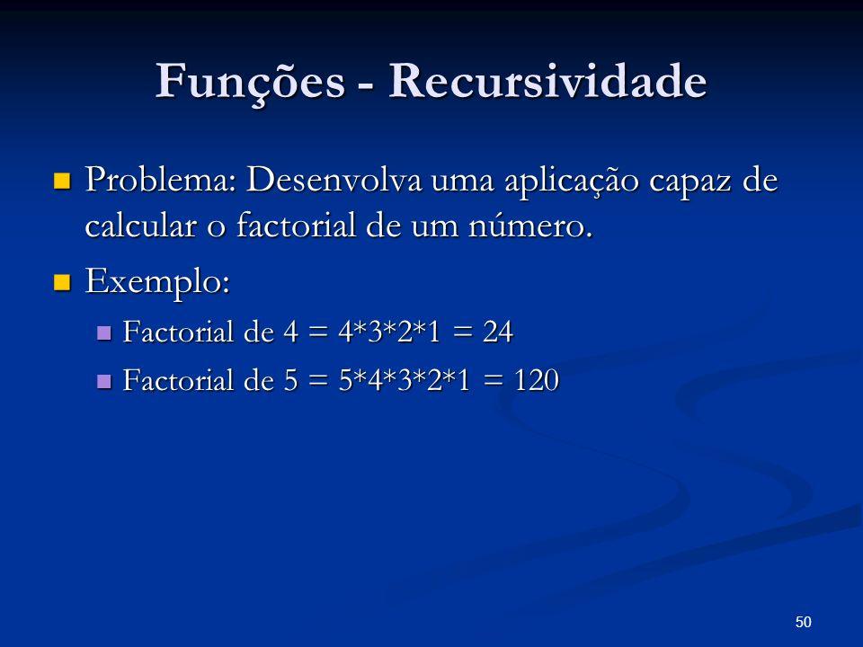 50 Funções - Recursividade Problema: Desenvolva uma aplicação capaz de calcular o factorial de um número. Problema: Desenvolva uma aplicação capaz de