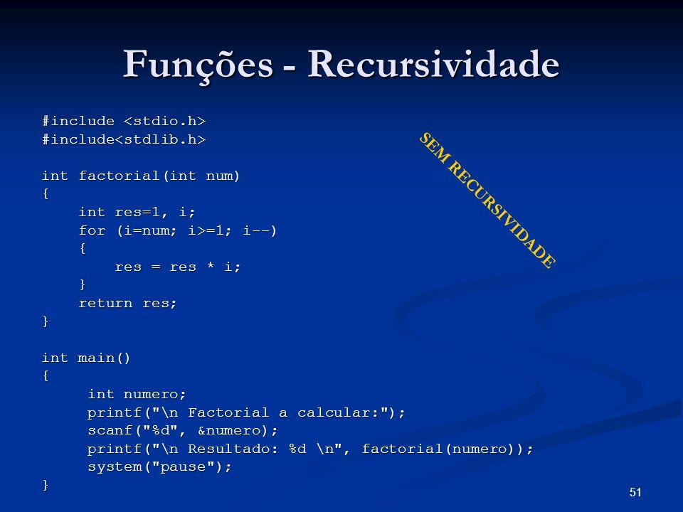 51 Funções - Recursividade #include #include #include<stdlib.h> int factorial(int num) { int res=1, i; int res=1, i; for (i=num; i>=1; i--) for (i=num
