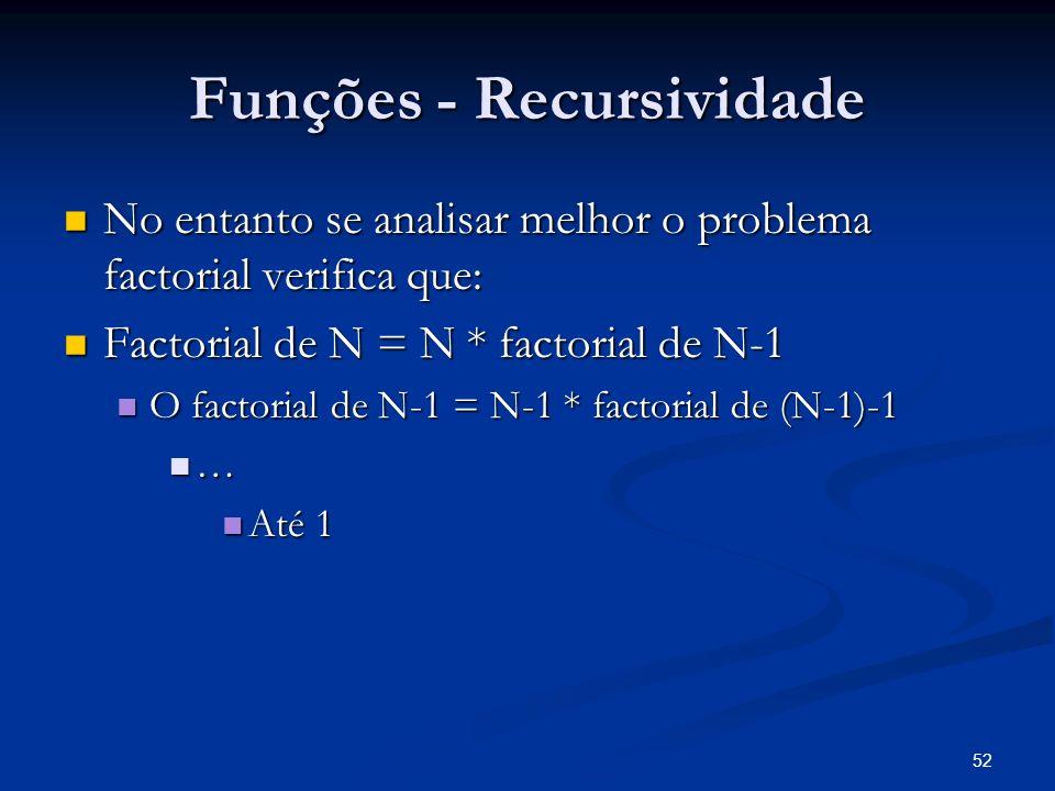 52 Funções - Recursividade No entanto se analisar melhor o problema factorial verifica que: No entanto se analisar melhor o problema factorial verific