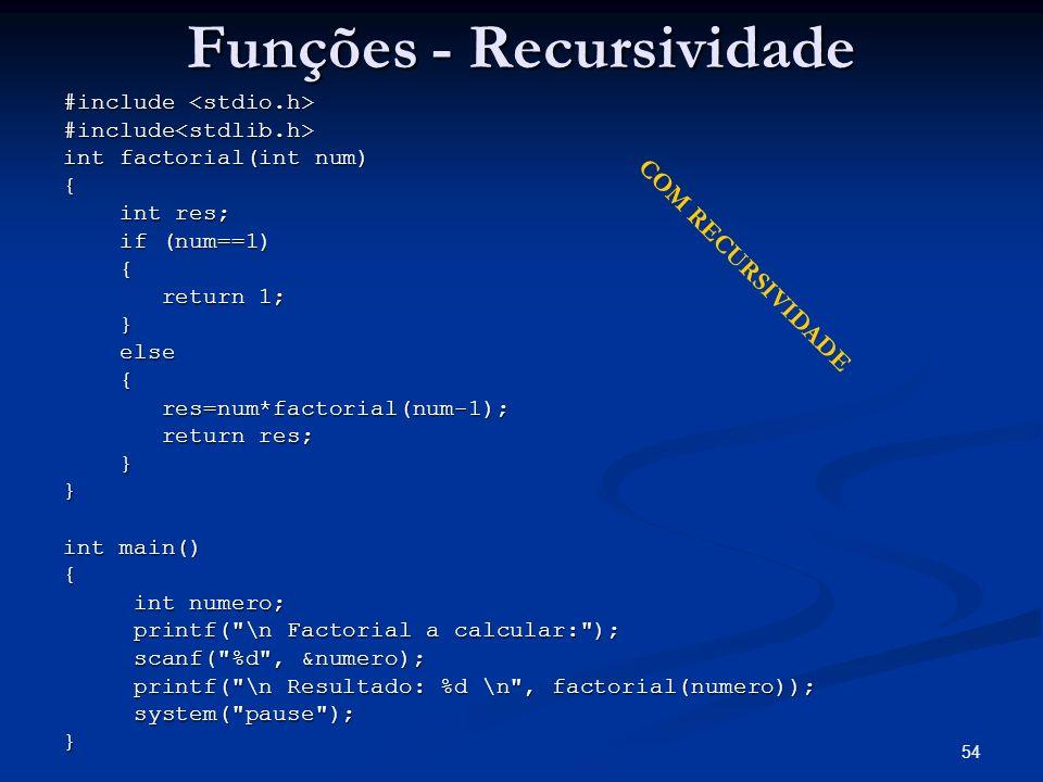 54 Funções - Recursividade #include #include #include<stdlib.h> int factorial(int num) { int res; int res; if (num==1) if (num==1) { return 1; return