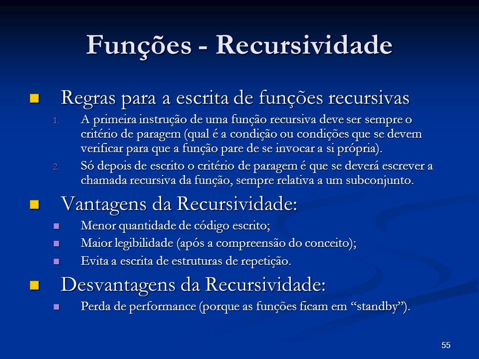 55 Funções - Recursividade Regras para a escrita de funções recursivas Regras para a escrita de funções recursivas 1. A primeira instrução de uma funç