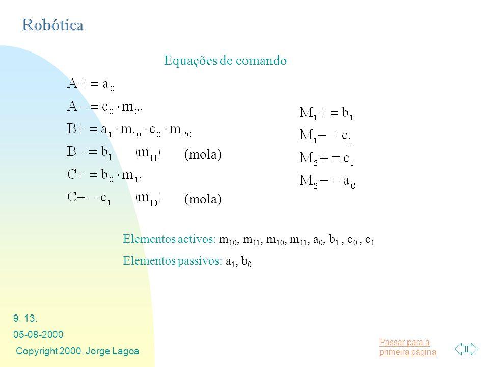 Passar para a primeira página Robótica 05-08-2000 Copyright 2000, Jorge Lagoa 9. 13. Equações de comando Elementos activos: m 10, m 11, m 10, m 11, a