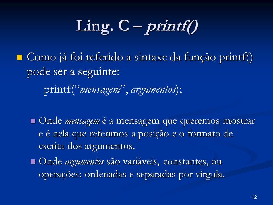 12 Ling. C – printf() Como já foi referido a sintaxe da função printf() pode ser a seguinte: Como já foi referido a sintaxe da função printf() pode se