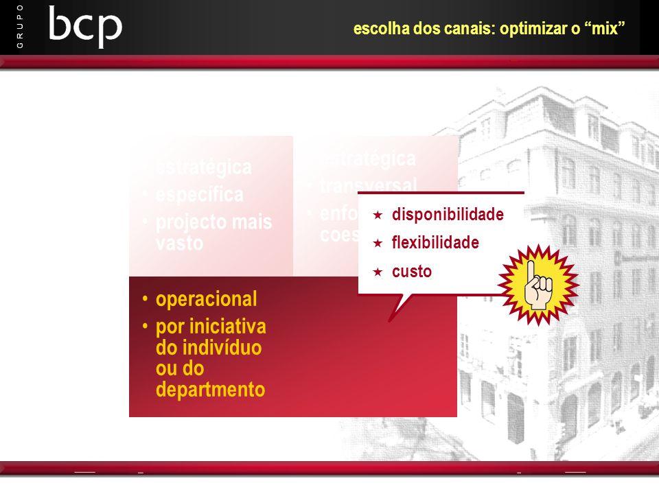 G R U P O operacional por iniciativa do indivíduo ou do departmento estratégica específica projecto mais vasto estratégica transversal enfoque na coes