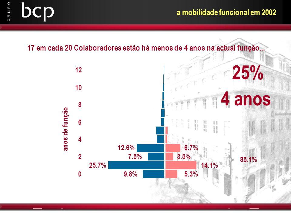 G R U P O 9.8% 25.7% 7.5% 12.6% 5.3% 14.1% 3.5% 6.7% anos de função 0 2 4 6 8 10 12 85.1% 17 em cada 20 Colaboradores estão há menos de 4 anos na actu
