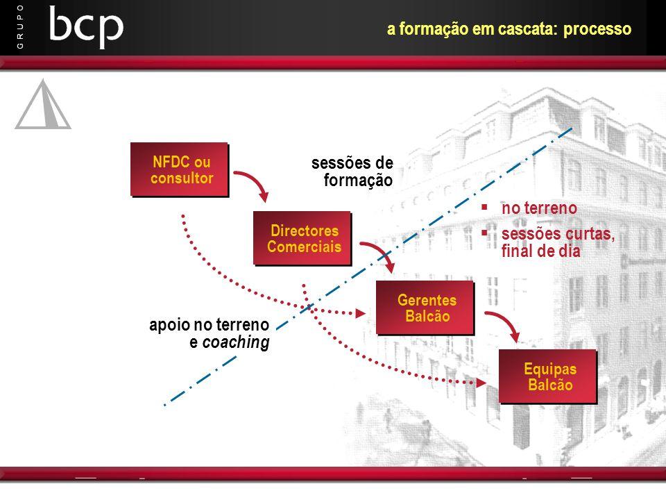 G R U P O a formação em cascata: processo NFDC ou consultor Directores Comerciais Gerentes Balcão Equipas Balcão sessões de formação apoio no terreno