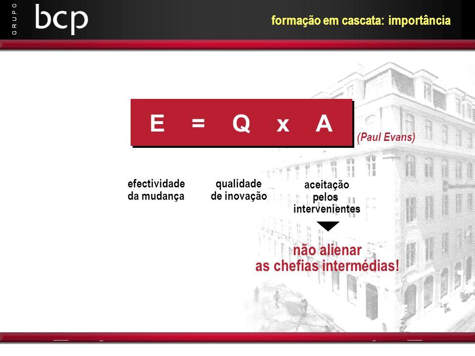 G R U P O formação em cascata: importância E = Q x A efectividade da mudança qualidade de inovação aceitação pelos intervenientes (Paul Evans) não ali