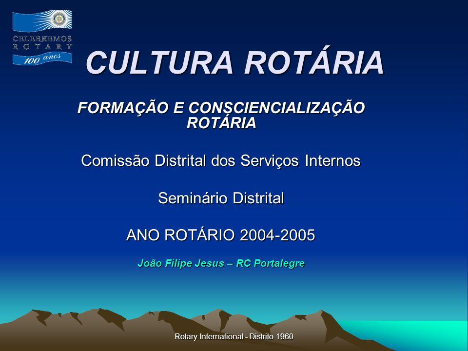 Rotary International - Distrito 1960 Formação e Consciencialização Rotária Os simbolos do Rotary (3) A bandeira de RI - como a bandeira nacional ou do município, entre outras que é exposta em cada reunião, lembra-nos o dever de cidadania.