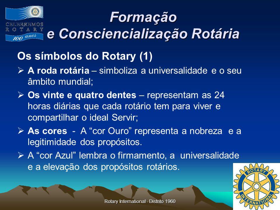 Rotary International - Distrito 1960 Formação e Consciencialização Rotária Os símbolos do Rotary (1) A roda rotária – simboliza a universalidade e o s