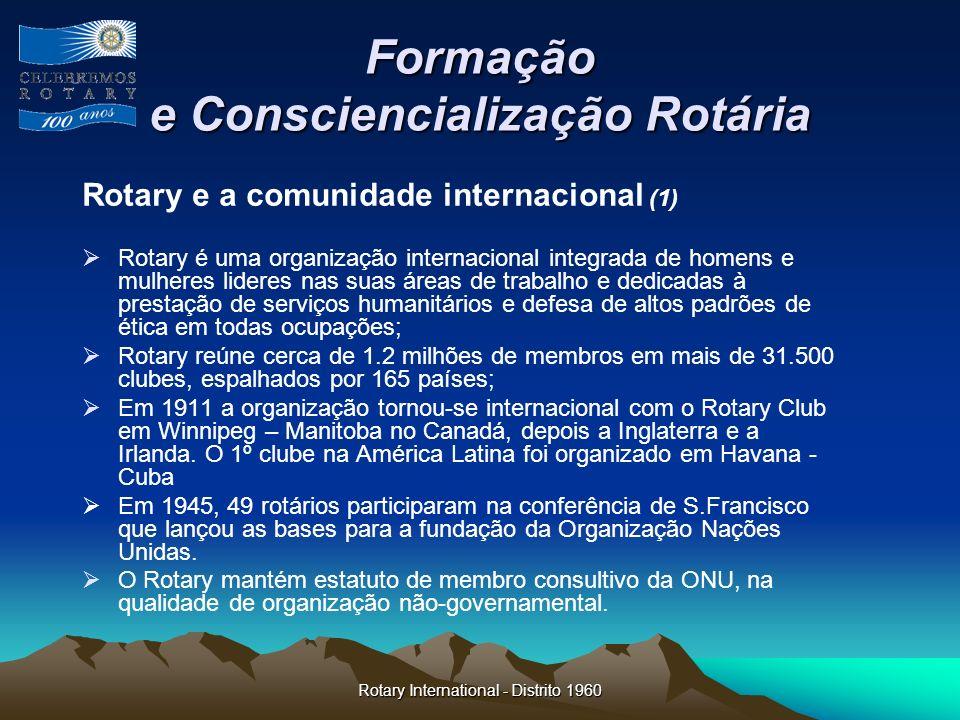 Rotary International - Distrito 1960 Formação e Consciencialização Rotária Rotary e a comunidade internacional (1) Rotary é uma organização internacio