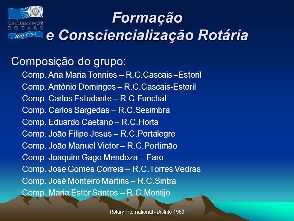 Rotary International - Distrito 1960 Formação e Consciencialização Rotária Composição do grupo: Comp. Ana Maria Tonnies – R.C.Cascais –Estoril Comp. A
