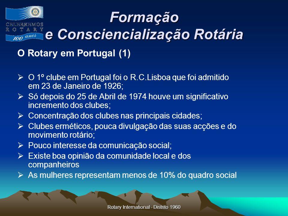 Rotary International - Distrito 1960 Formação e Consciencialização Rotária O Rotary em Portugal (1) O 1º clube em Portugal foi o R.C.Lisboa que foi ad