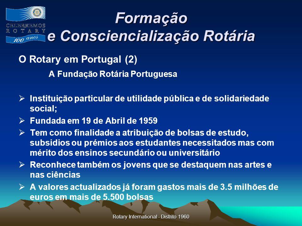 Rotary International - Distrito 1960 Formação e Consciencialização Rotária O Rotary em Portugal (2) A Fundação Rotária Portuguesa Instituição particul