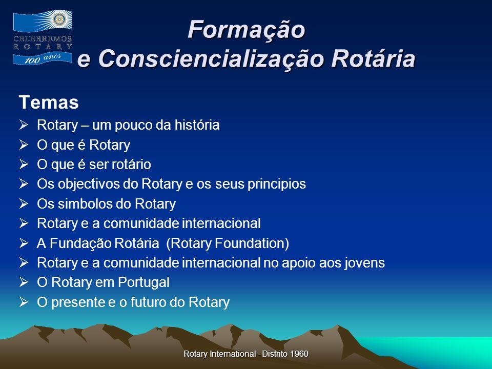 Rotary International - Distrito 1960 Formação e Consciencialização Rotária Temas Rotary – um pouco da história O que é Rotary O que é ser rotário Os o