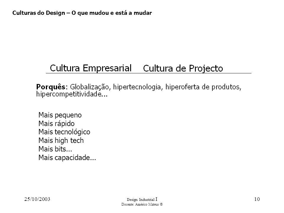 25/10/2003 Design Industrial I Docente: Américo Mateus ® 10 Culturas do Design – O que mudou e está a mudar Mais pequeno Mais rápido Mais tecnológico Mais high tech Mais bits...