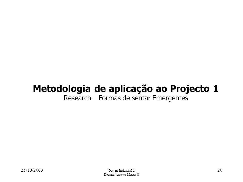 25/10/2003 Design Industrial I Docente: Américo Mateus ® 20 Metodologia de aplicação ao Projecto 1 Research – Formas de sentar Emergentes
