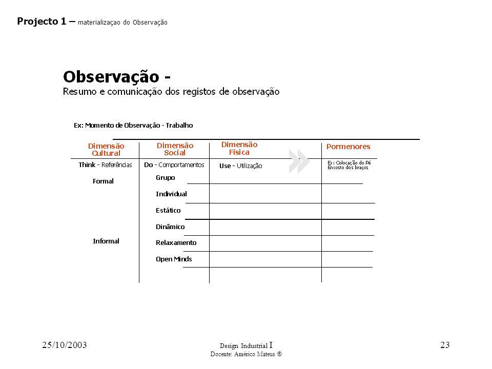 25/10/2003 Design Industrial I Docente: Américo Mateus ® 23 Projecto 1 – materializaçao do Observação