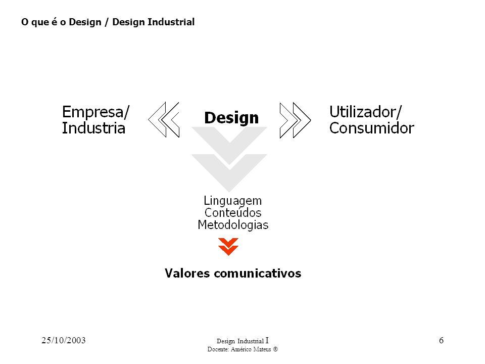 25/10/2003 Design Industrial I Docente: Américo Mateus ® 6 O que é o Design / Design Industrial