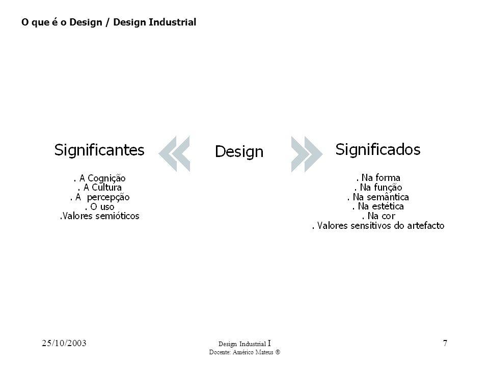 25/10/2003 Design Industrial I Docente: Américo Mateus ® 7 O que é o Design / Design Industrial
