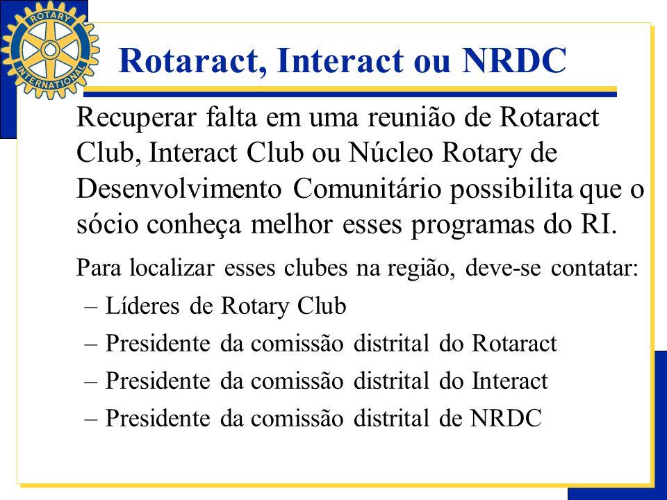 Rotaract, Interact ou NRDC Recuperar falta em uma reunião de Rotaract Club, Interact Club ou Núcleo Rotary de Desenvolvimento Comunitário possibilita
