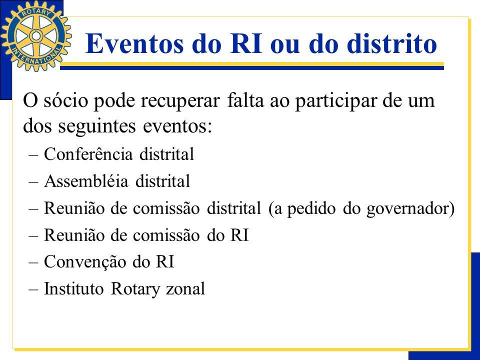 Eventos do RI ou do distrito O sócio pode recuperar falta ao participar de um dos seguintes eventos: –Conferência distrital –Assembléia distrital –Reu