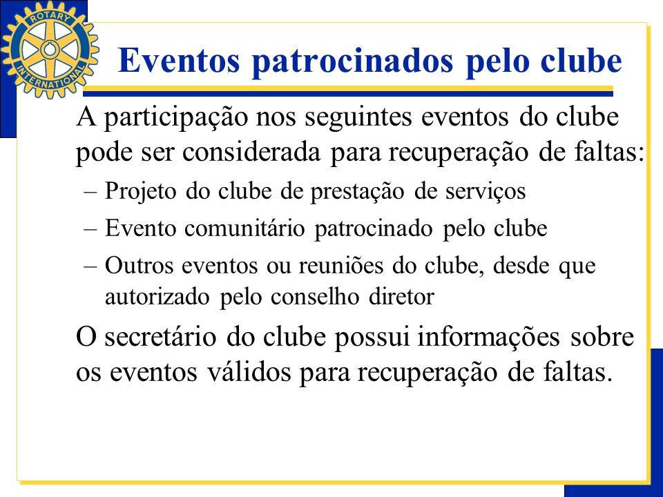 Eventos patrocinados pelo clube A participação nos seguintes eventos do clube pode ser considerada para recuperação de faltas: –Projeto do clube de pr