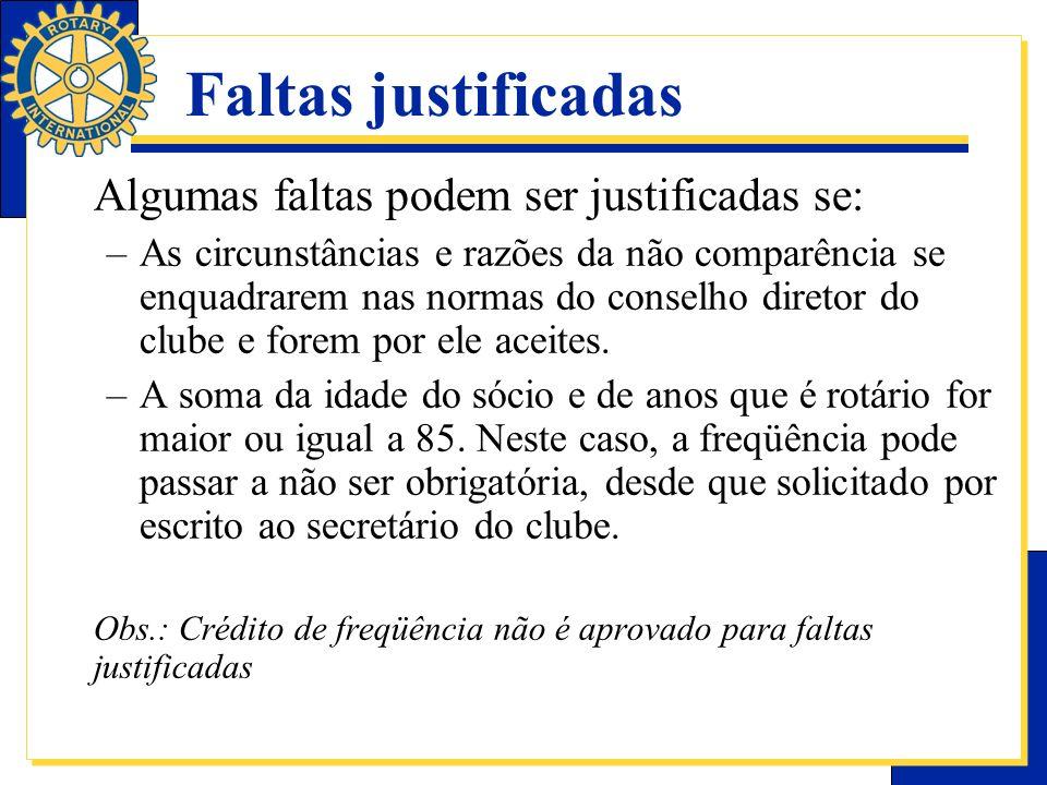 Faltas justificadas Algumas faltas podem ser justificadas se: –As circunstâncias e razões da não comparência se enquadrarem nas normas do conselho dir