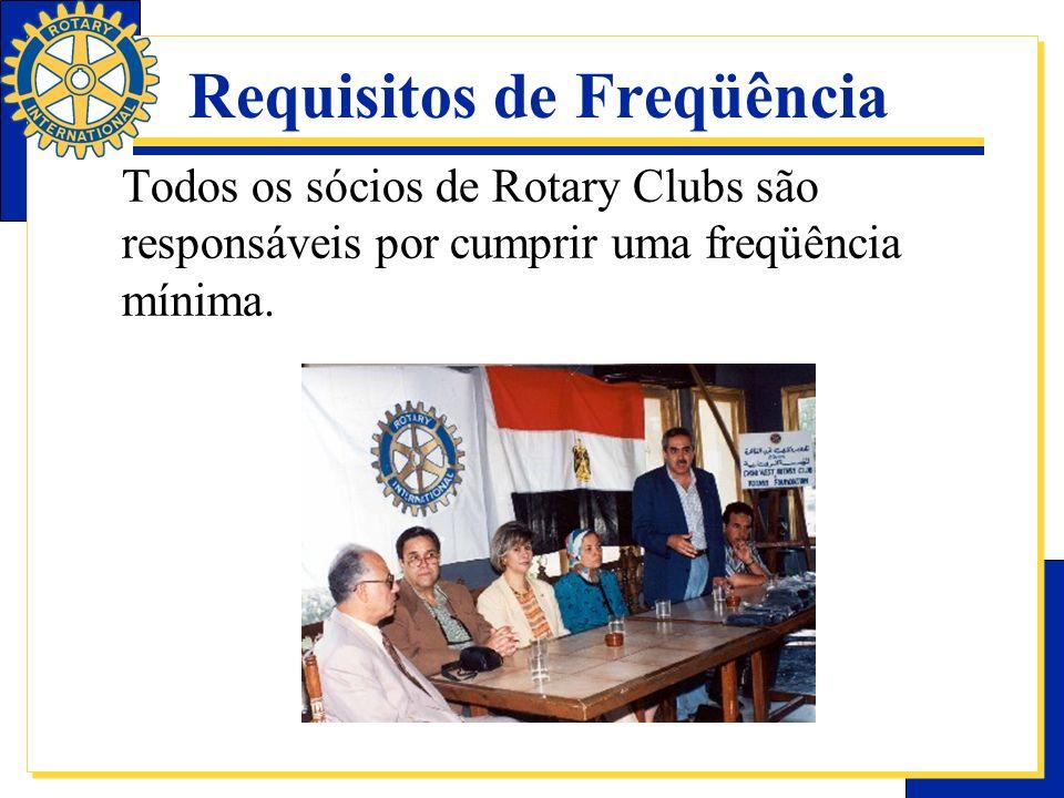 Propósito da freqüência As reuniões semanais têm o objetivo de fomentar o companheirismo no clube.